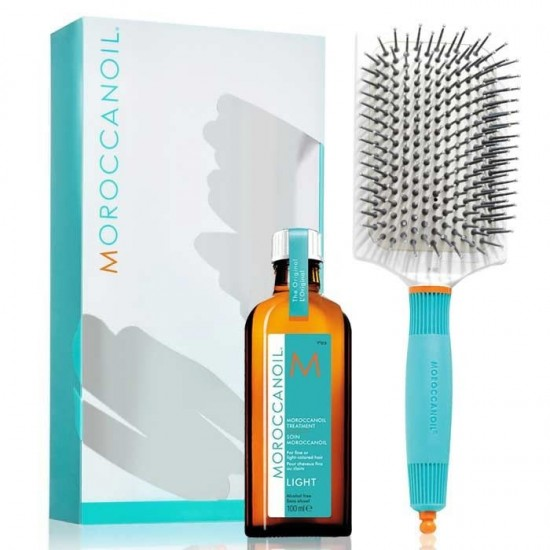 Morocannoil Great Hair Day Set Light (Oil Treatment Light 100ml, Ceramic Paddle Brush)